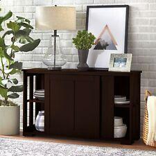 Cabinet Stackable Storage Wood Buffet Adjustable Sliding Panel Doors Espresso