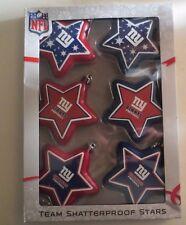N Y Giants Shatterproof Christmas Star Ornaments Set Of 6 MIB