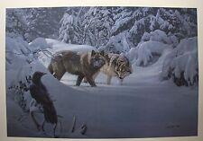 """Daniel SMITH LTD art print """" On Common Ground """" Wolves MINT in folder COA Wolf"""