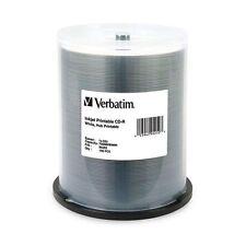 VERBATIM 95252 CD-R 52x 700MB 80Min White Inkjet Hub Printable 100 pack Spindle