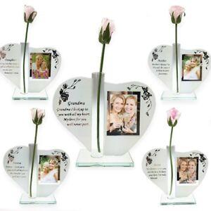 Heart shape photo plaque with Rose Sister Mum Daughter Grandma Nanna Friend