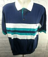 NWT Members Only Mens Sz Large Blue White Turquoise polo shirt S/S 1/2 Button- I
