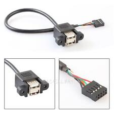 9 Pin Motherboard Header to 2 Port USB 2.0 Female Extension Cable Adapter Copper