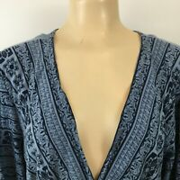 Fashion Bug Plunging Neckline Floral Blouse Tie Back Tops Blue Plus Size 3X