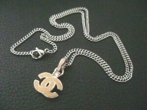 Auth Chanel CC pink Pendant w/ Thin Chain Necklace(04A)