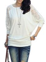 Sexy Femme Loisir Manche Longue Coton en dentelle Col Rond Haut Tops Shirt Plus