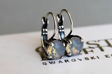Antique Silver Plated Light Grey Opal Earrings with Swarovski Crystal Element