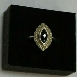 VINTAGE BLACK ONYX 925 PURE STERLING SILVER RING