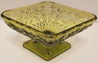 Iridescent Green Diamond Shaped Bowl Floral Art Glass Bowl Vintage