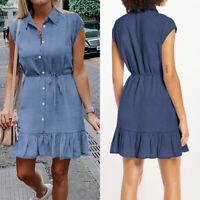 UK Women's Mini Ladies Dress Holiday Ruffled V Neck Beach Denim Sun Dresses 8-26