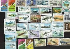 35 ALL DIFFERENT WWII AVIATION ON  STAMPS (AIR PLANES)