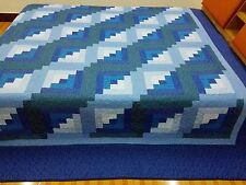 King size Machine pieced and quilted log Cabin quilt #J-54Qk