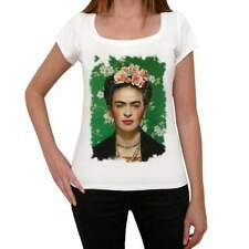 Frida Kahlo Old Celebrities, White, Women's Short Sleeve Round Neck T-shirt,