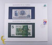 1973-1982 Norway 10 Kroner & Netherlands 5 Gulden Gem Unc Banknotes 2 pc lot