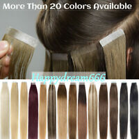 Tape In 100% Indian Remy Human Hair Extensions Seamless Invisible Straight Hair