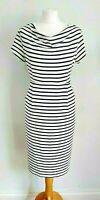 WHITE STUFF Size 12 CREAM & NAVY Stripe JERSEY Stretch Short Sleeve DRESS