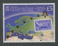 ‭‭50 years of Europa stamps mnh 2006 Gibraltar map gold foil #1026