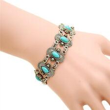 Women Retro Vintage Natural Turquoise Tibet Silver Bracelet Bangle Cuff Fashion
