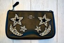 NWT Coach Nolita Wristlet 19 With Crystal Embellishment, Black Leather, F318870