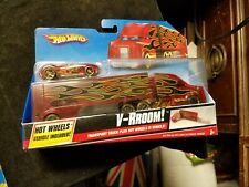 2009 Hot Wheels Transport Truck V-RROOM Truck & Car Included New In Package