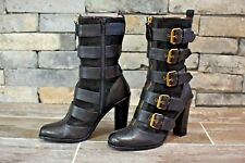 MARC BY MARC JACOBS Gold Buckle Leather Suede MidCalf Belted HEEL BOOTS / 36.5