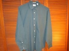 Dockers Green Long-Sleeved Shirt with Thin White Stripes Men's Size Medium