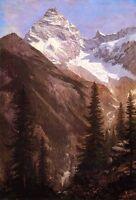 "Oil painting Albert Bierstadt - Canadian Rockies Asulkan Glacier mountains 36"""