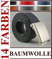 Stoffgürtel Canvas Gürtel 100-150 CM  Klappverschluss 12 Farben  B: 4cm  Sklp