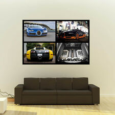 Bugatti Veyron Giant  HD Poster Super Car Collage Huge Print  54x36 Inches