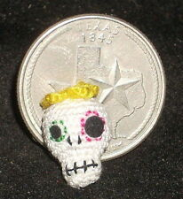 Micro Crochet Day of The Dead Skull 1:12 Mexican Halloween Miniature #1633