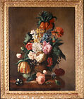18th CENTURY HUGE FRENCH OLD MASTER OIL ON CANVAS - FLOWERS & INSECTS IN URN