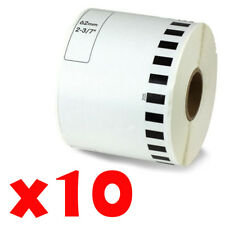 10 Roll 2-7/16 x 105ft 62mm DK-2205 Continuous Label Compatible Brother® QL-570