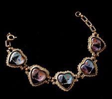 """Vintage Silver Tone Art Deco Heart Link Bracelet 7"""" D720"""