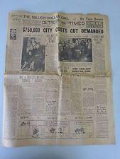 1932 Detroit Times Newspaper, Babe Ruth, Detroit Olympians Hockey Team, Tigers