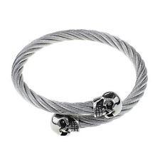 Uomo elastico in acciaio inox Twisted Cavo Skull Bracciale D'Argento Tono