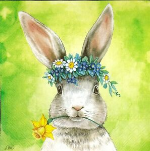 N402# 3x Single Paper Napkins For Decoupage Easter Spring Bunny Rabbit Hare Head