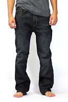 Distressed Boot Cut Men's Solo Jeans Indigo Whiskers Designer 30 32 34 36 38 40