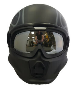 Viper RS07 Trooper Matt Black Modular Open Face Mask Motorcycle Helmet Flames
