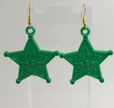 Large Green Sheriff Star Eagle Acrylic Earrings D210 Kitsch Fun 6 cm Long Fun