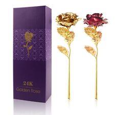 24K Foil Plated Rose Gold Rose Wedding Decoration Flower Valentine's Day Gift