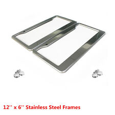 2 Pcs Silver Stainless Steel License Plate Frame Tag Cover For US Cars Vehicles