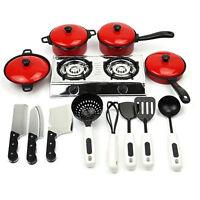 Childrens Plastic Kitchen Cooking Utensils Pots Pans Cookware Set Kids Play Toy