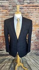 Jos A Bank Signature Collection 42L Navy Plaid 2 Button WOOL Sport Coat Jacket