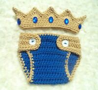 Crochet Baby Prince Crown, Crochet Diaper Cover Set, Crochet Crown Outfit, Blue