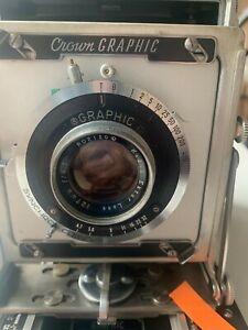Vintage Graflex crown graphic 4x5 camera Kodak Lens