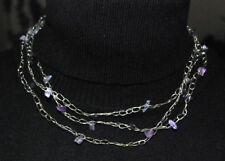 Halskette aus versilbertem Draht mit eingearbeiteten Amethysten neu