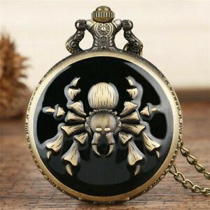 Antique Vintage Spider/Scorpion Men Women Quartz Pocket Watch Necklace Chain