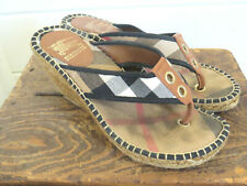 Burberry Espadrille Wedge Shoes Size EU 38 US 7 Nova Check Fabric & Leather