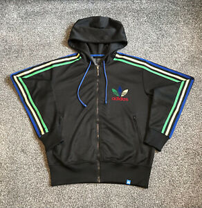 Adidas Originals Grun Hoodie Mens Medium Black With Multicoloured Stripes Rare