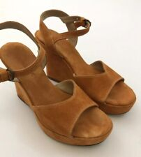 Women's SUNDANCE Sz 40 (9 US) Orange Suede Leather Platform Wedge Sandals Shoes